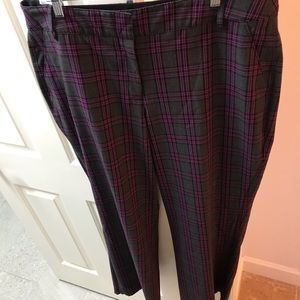 Lane Bryant fuchsia plaid T3 pants Sz 20 Reg EUC